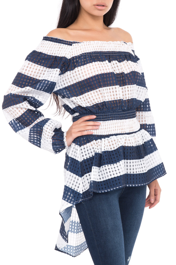 STRIPED MESH OFF THE SHOULDER BELTED HIGH LOW TUNIC