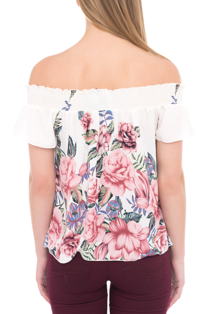 SHIRRED FLORAL SHORT SLEEVE OFF THE SHOULDER BLOUSE