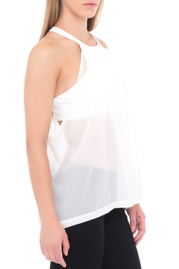 HIGH NECK TRANSPARENT BLOUSE WITH CROPPED LINING
