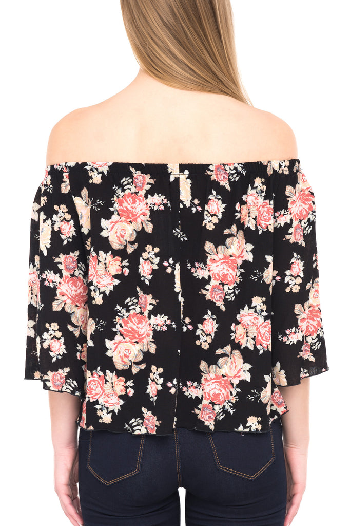 LONG SLEEVE OFF THE SHOULDER FLORAL TOP