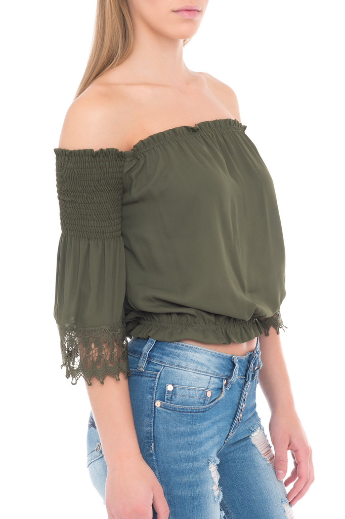 OFF THE SHOULDER TOP WITH SHIRRED LONG SLEEVES