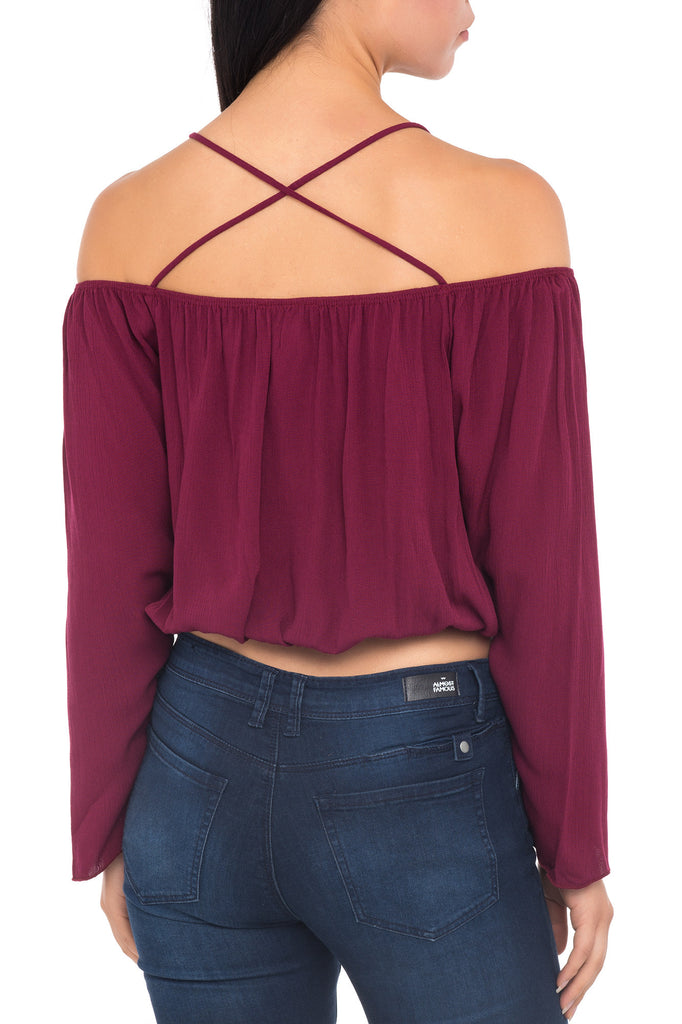 OFF THE SHOULDER CROSS BACK CROP TOP
