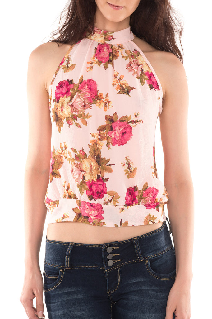 FLORAL POWER HALTER TOP