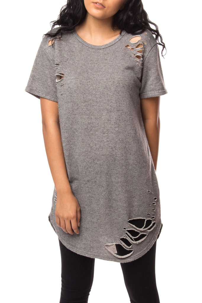 DISTRESSED LONGLINE ROUNDED HEM SHIRT