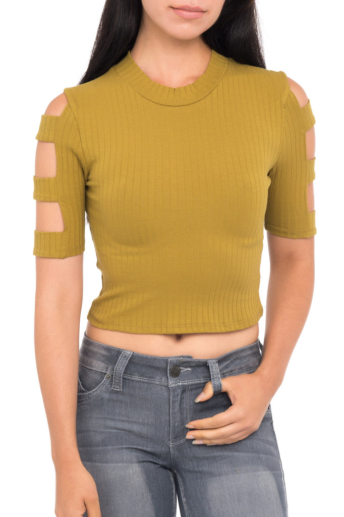 RIBBED MOCK NECK CAGED SLEEVE TOP