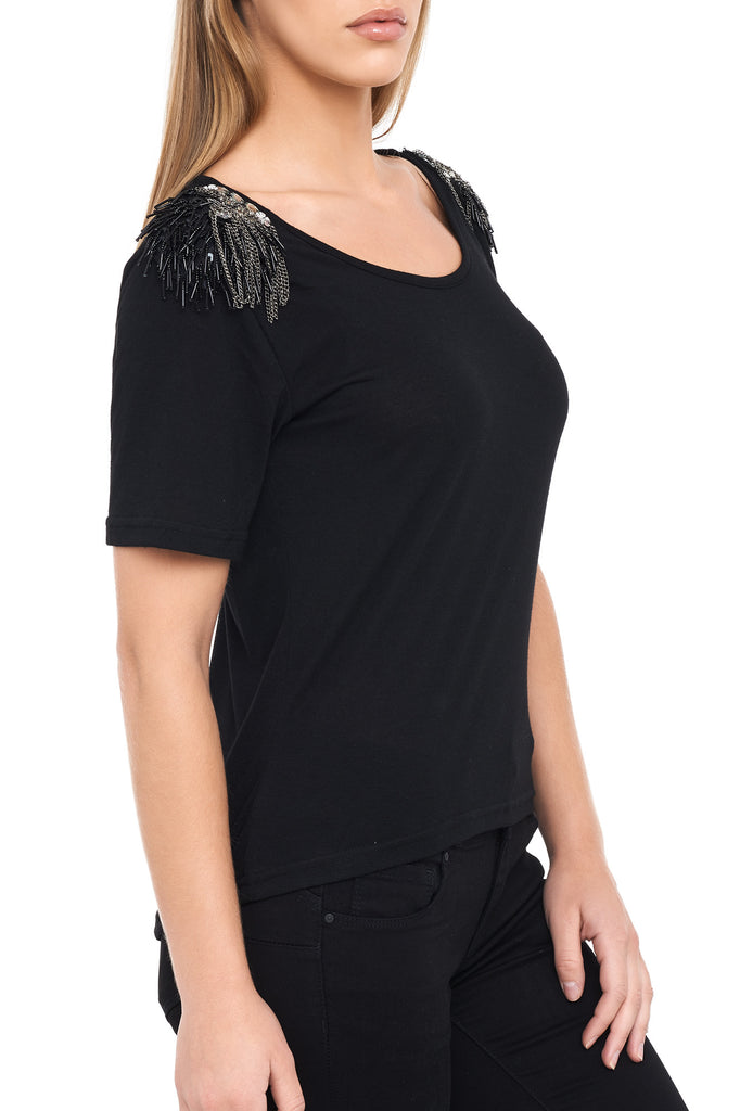 ROUND NECK SHORT SLEEVE BLOUSE WITH SHOULDER EMBELLISHMENT