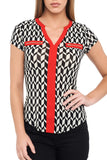 CONTRAST RED TRIM PRINT TOP