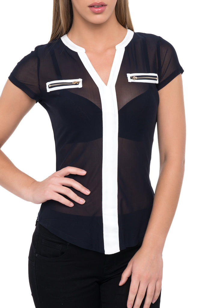 SHEER CONTRAST TRIM POCKET SHIRT