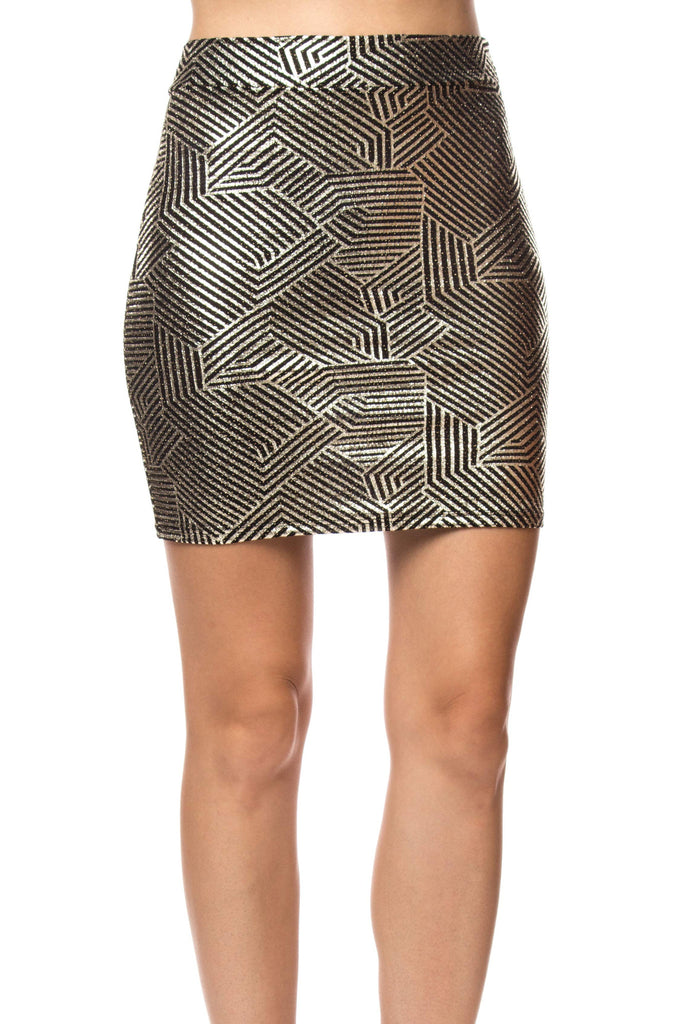 METALLIC GEOMETRIC PRINT SKIRT