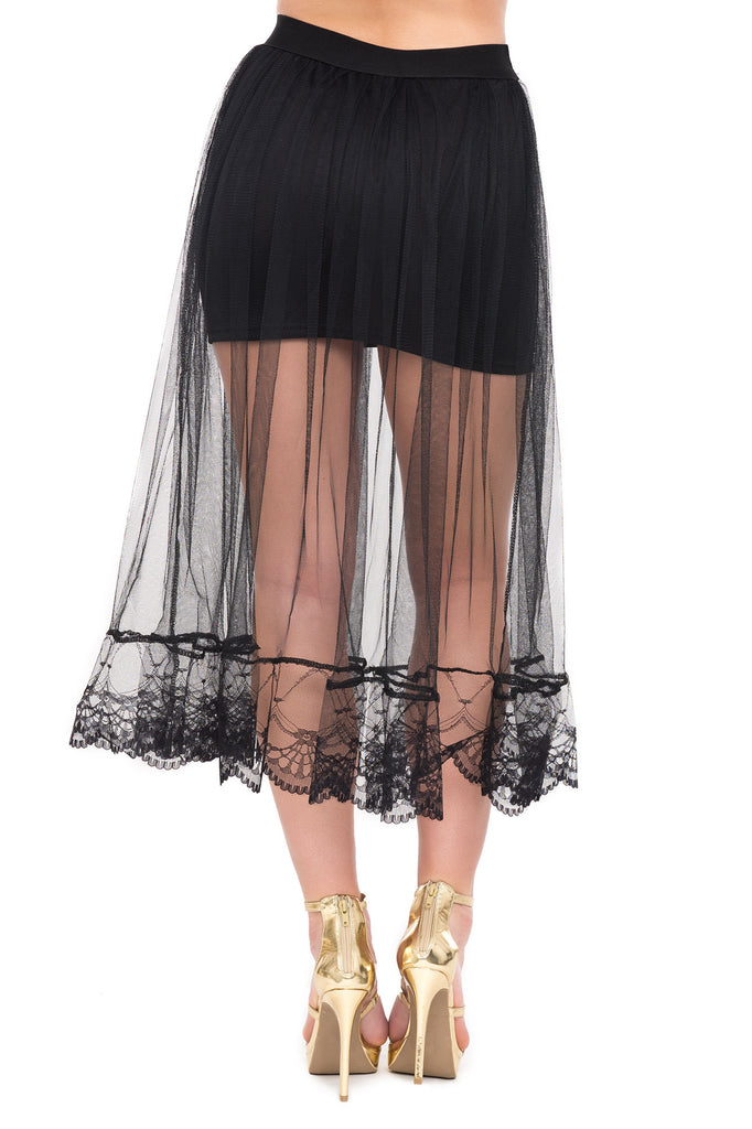 LONG MESH SKIRT WITH LACE TRIM