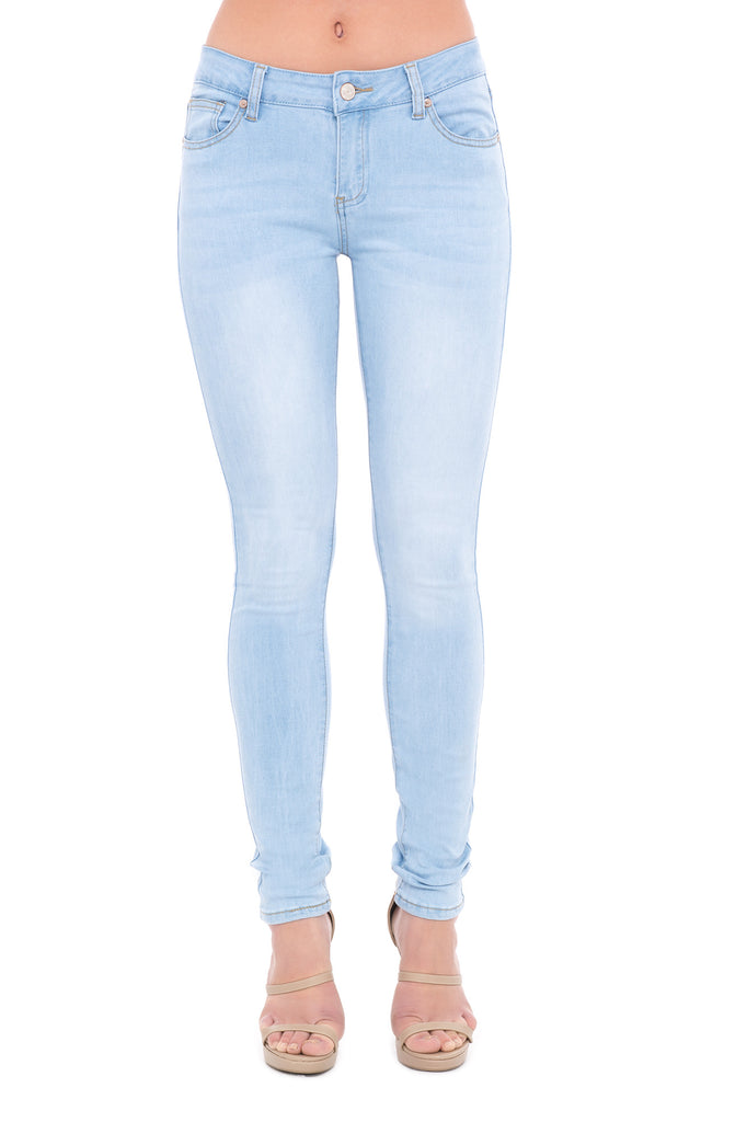 LOW RISE BLEACHED AND FADED SKINNY JEAN
