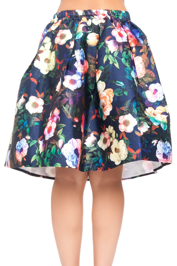 FLORAL WOVEN SKIRT WITH LINING