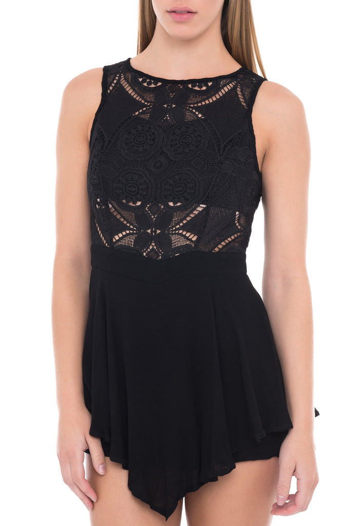 LACE OVERLAY FLARED ROMPER