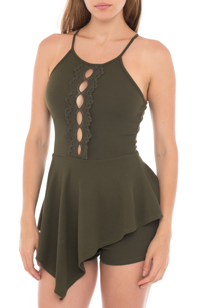 CROCHET TRIM ASYMMETRICAL ROMPER