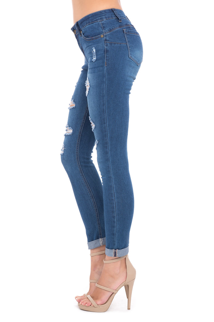 DISTRESSED BUTT I <3 YOU CUFFED MEDIUM WASH SKINNY JEAN