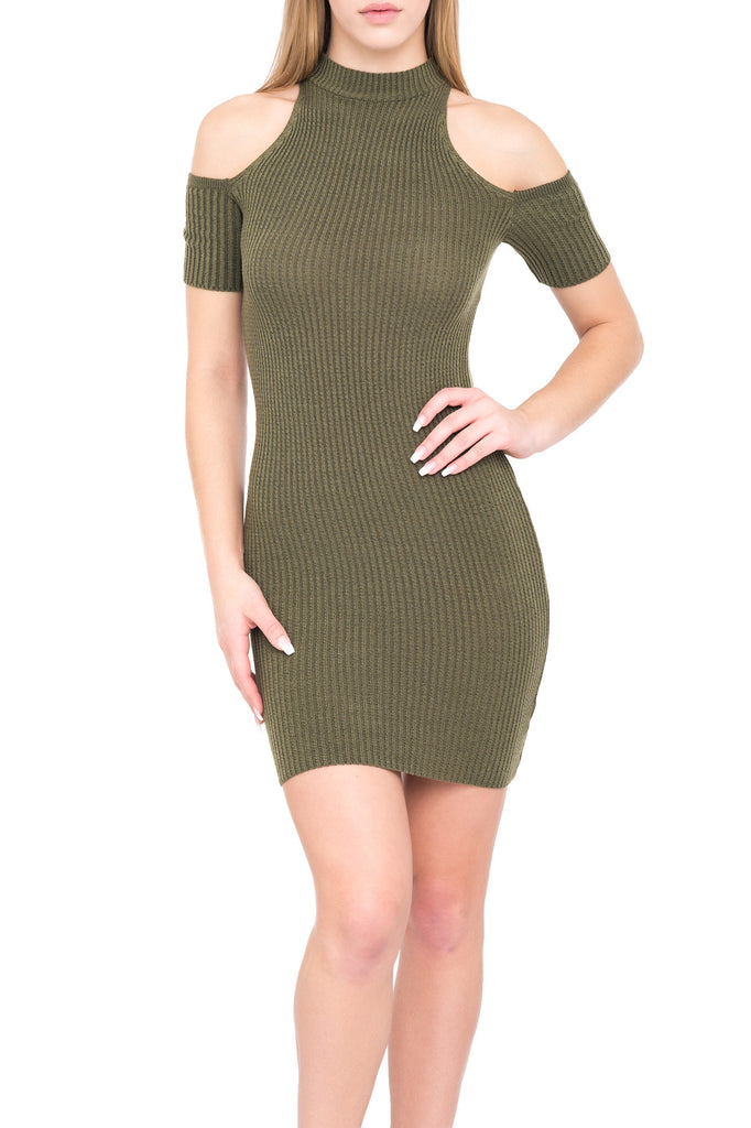 COLD SHOULDER RIBBED KNIT BODYCON DRESS