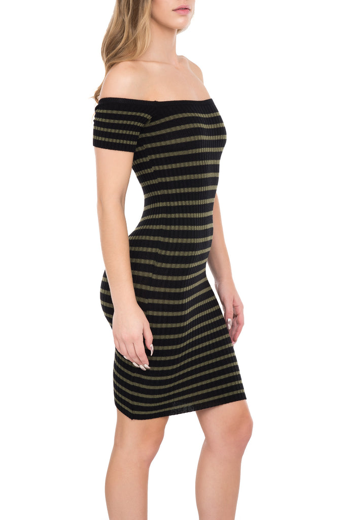 OFF THE SHOULDER STRIPED BODYCON KNIT DRESS
