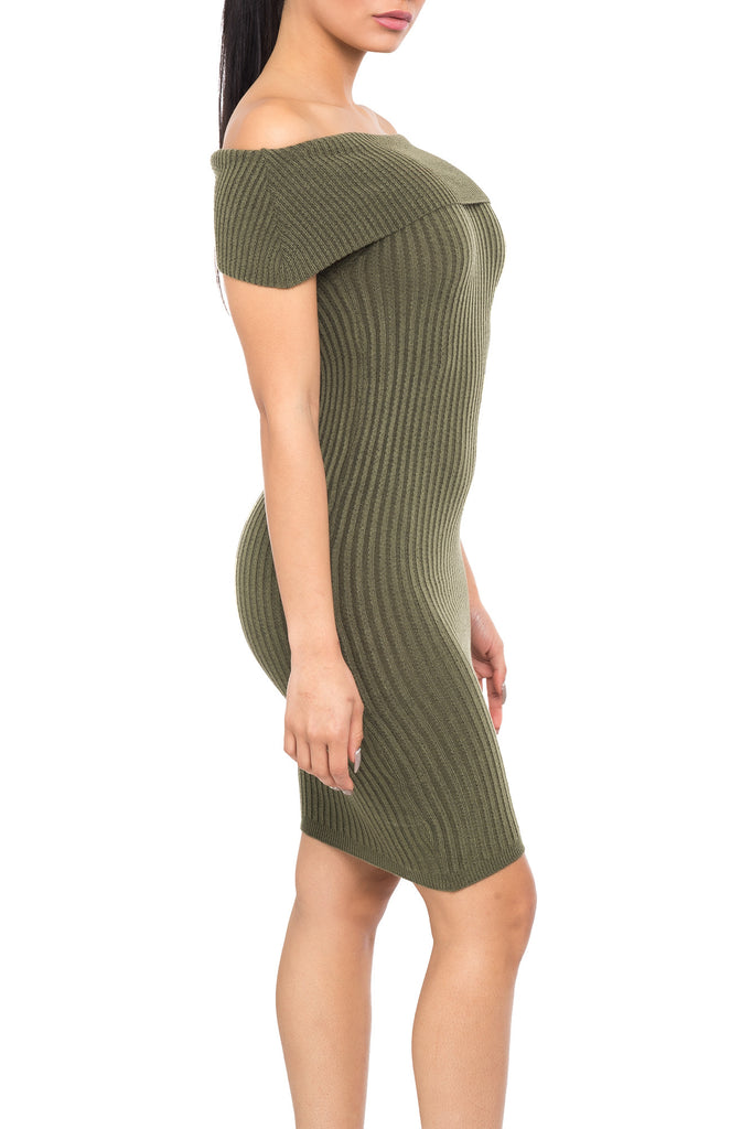 OFF SHOULDER BODYCON SWEATER DRESS