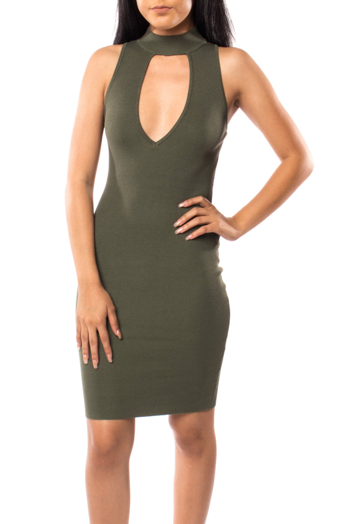 KNIT KEYHOLE BODYCON DRESS