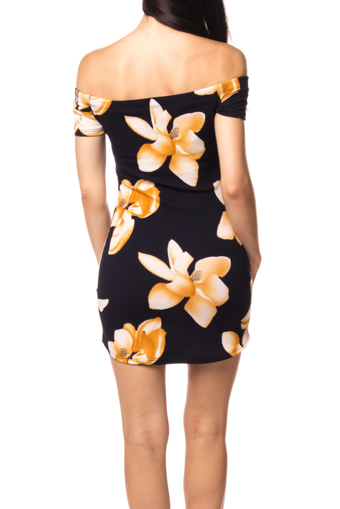 OFF THE SHOULDER FLORAL BODYCON DRESS