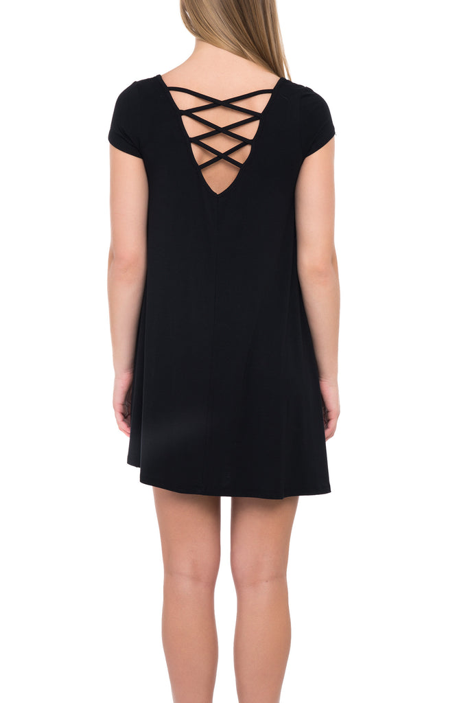 S/S STRAP CROSS BACK DRESS