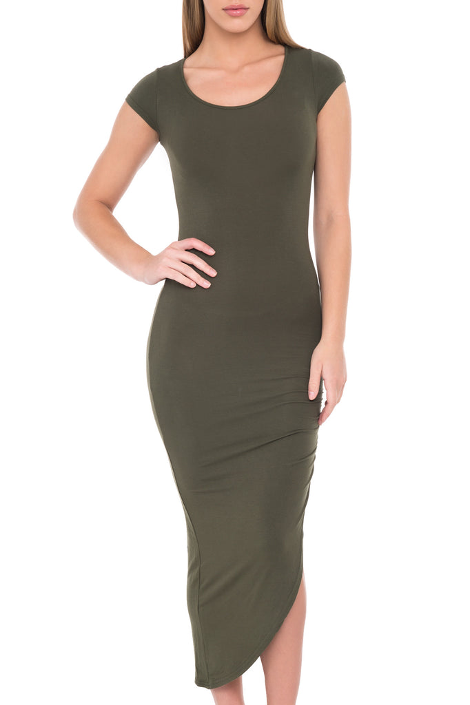 SHORT SLEEVE DRESS WITH CINCHED SIDE AND ASYMMETRICAL BOTTOM - PROMO 60% OFF