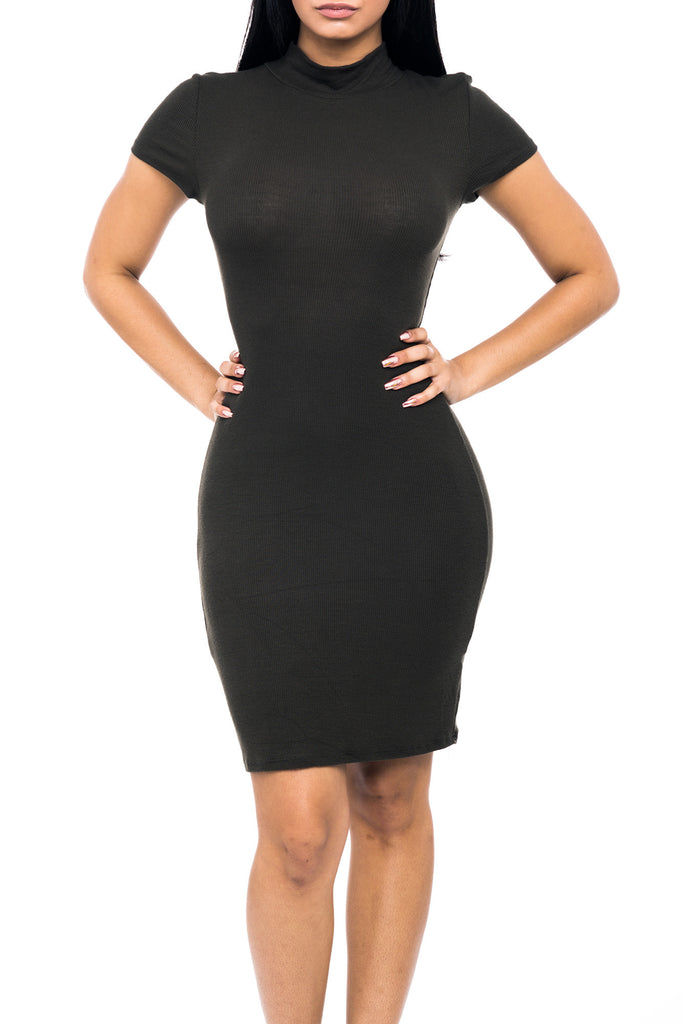 MOCK NECK BODYCON SHORT SLEEVE DRESS