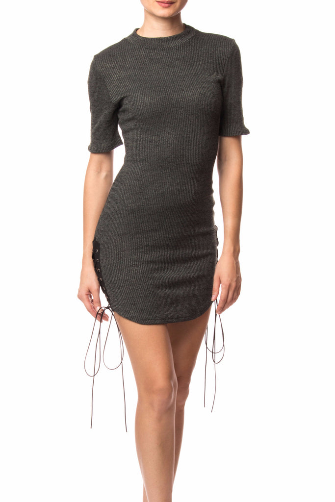 RIBBED KNIT BODYCON DRESS WITH LACE-UP SIDES