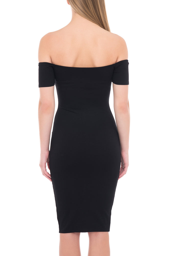 OFF THE SHOULDER ZIP-UP BODYCON DRESS
