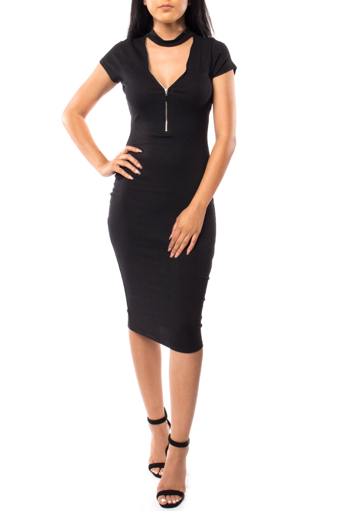 CHOKER ZIP-UP BODYCON DRESS