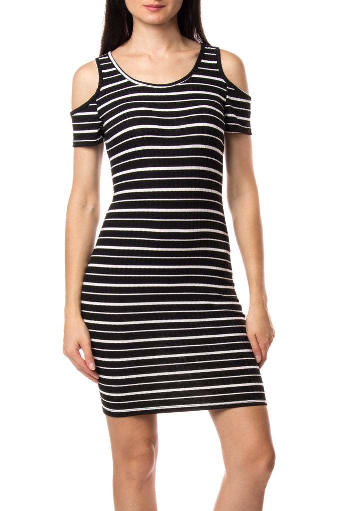 COLD SHOULDER STRIPED BODYCON DRESS
