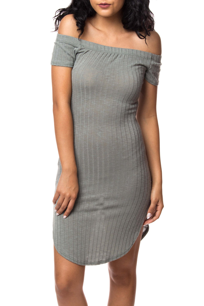 MARLED RIBBED KNIT OFF THE SHOULDER BODYCON DRESS