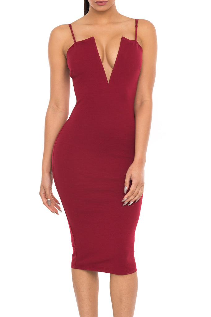 BODYCON DRESS WITH PLUNGING NECKLINE