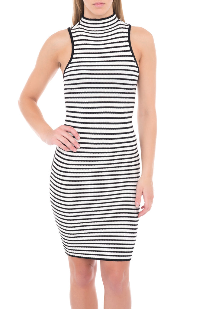 HIGH NECK LONG STRIPE MIDI DRESS