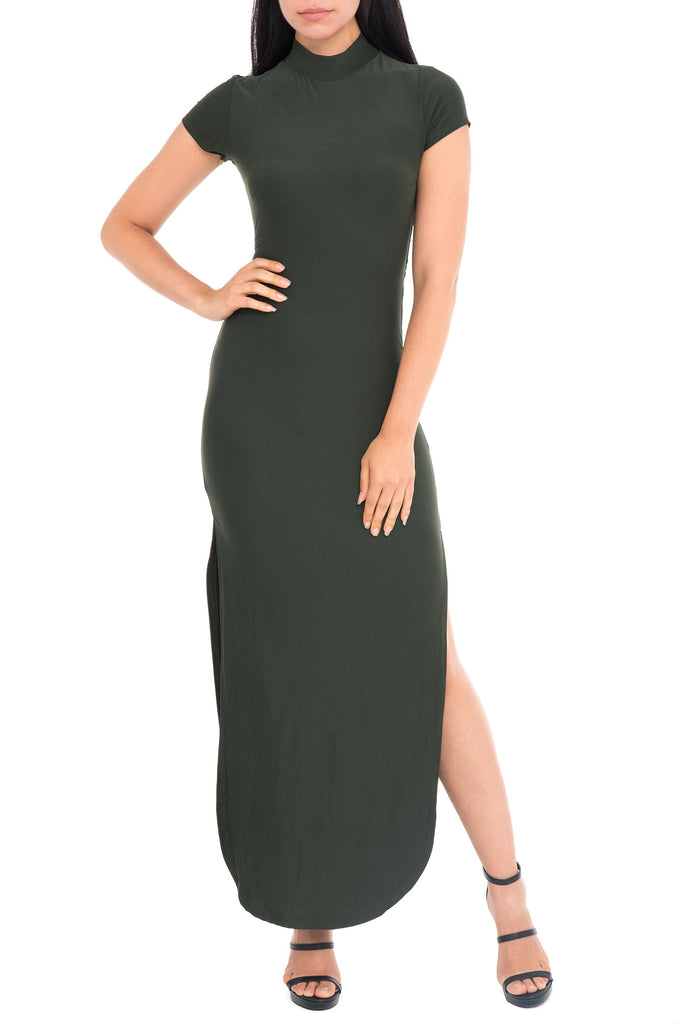 MOCK NECK BODYCON MAXI DRESS