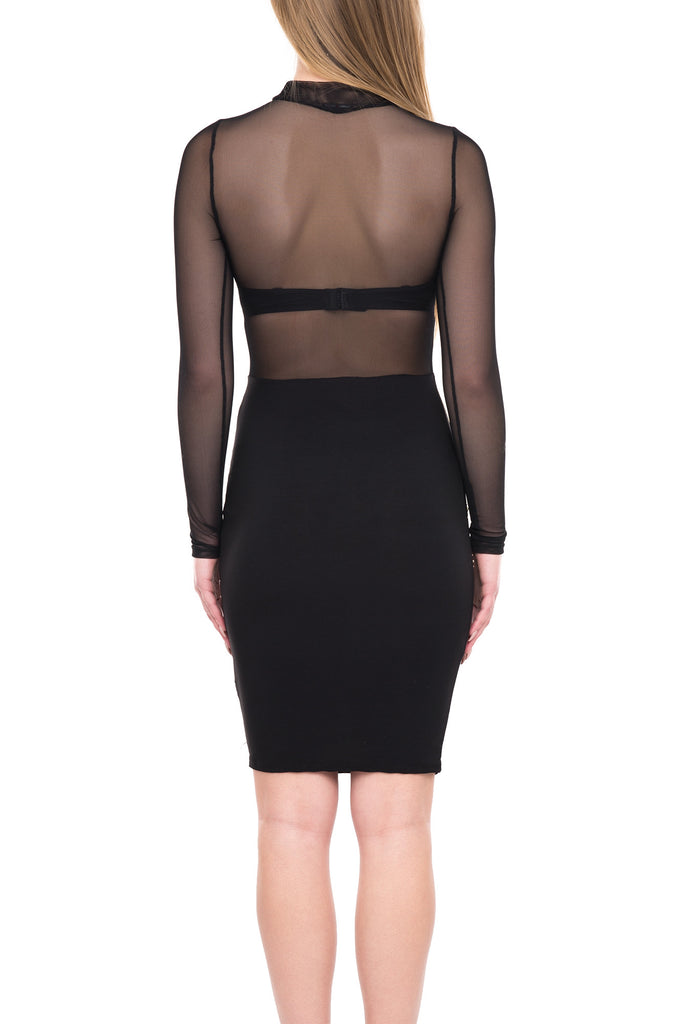 SHEER TOP & SEQUIN BODYCON DRESS