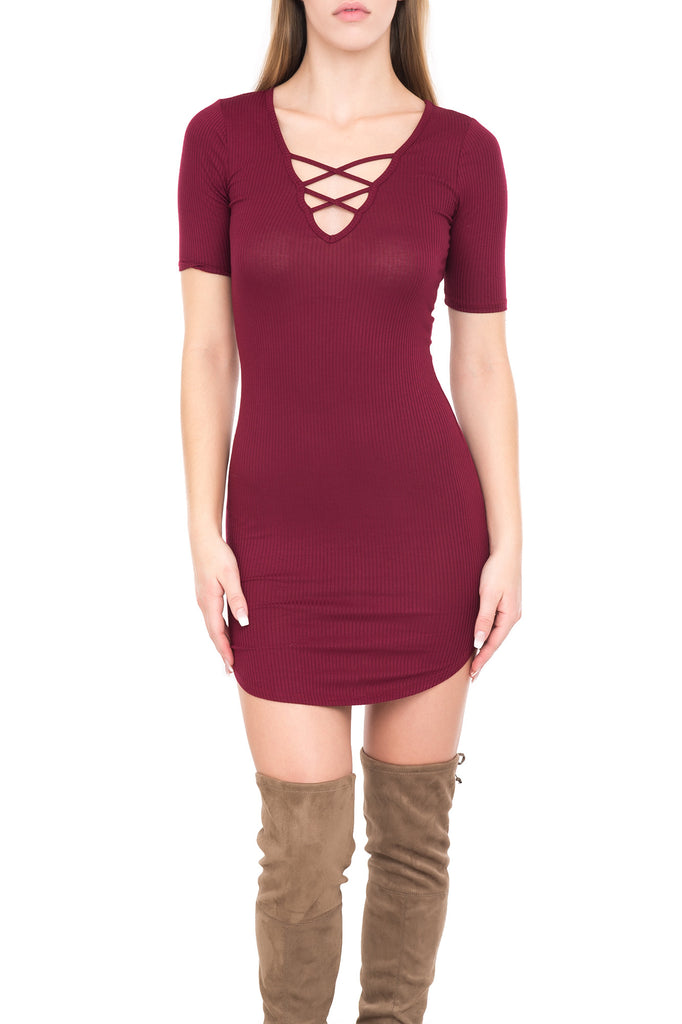LACE-UP RIBBED KNIT DRESS