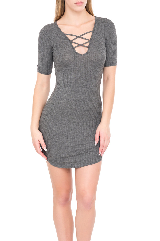 SHORT SLEEVE RIB KNIT DRESS WITH LACE UP NECKLINE