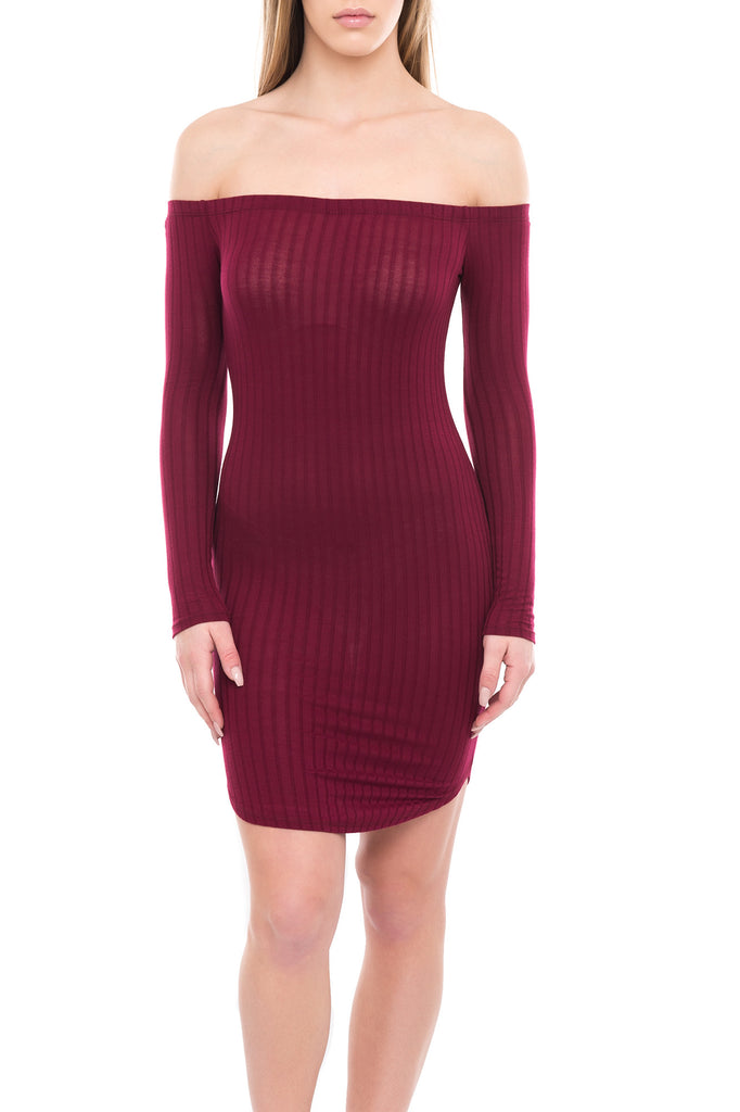 OFF THE SHOULDER RIBBED KNIT BODYCON DRESS