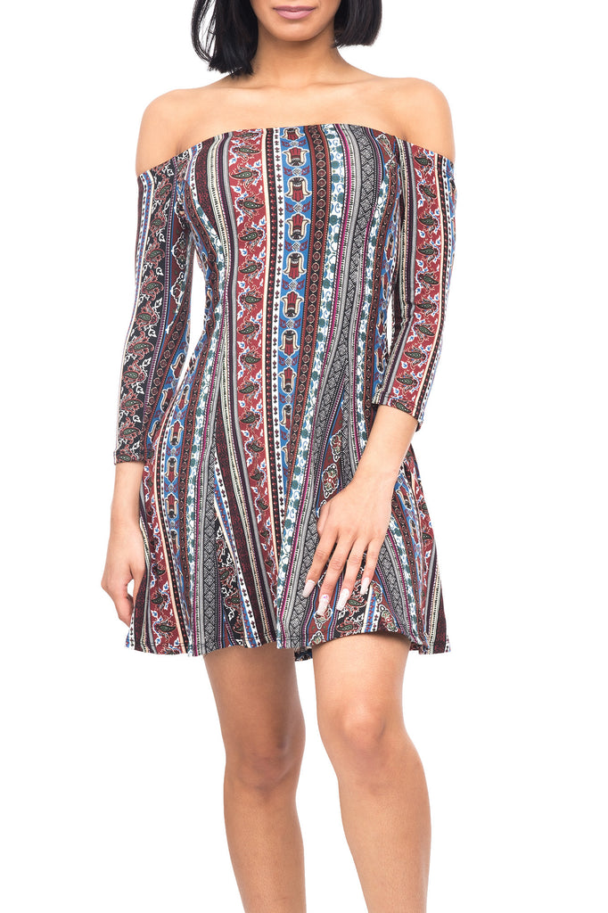 3/4 SLEEVE OFF THE SHOULDER PRINTED DRESS