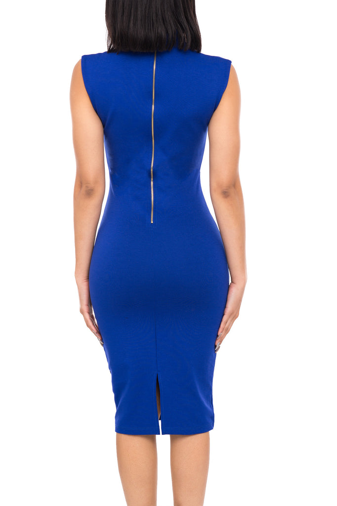 CURVED NECKLINE BODYCON DRESS