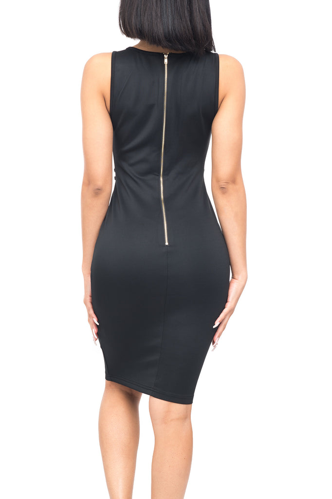 SLEEVELESS PRINCESS SEAM DRESS WITH TECHNO METAL BARS