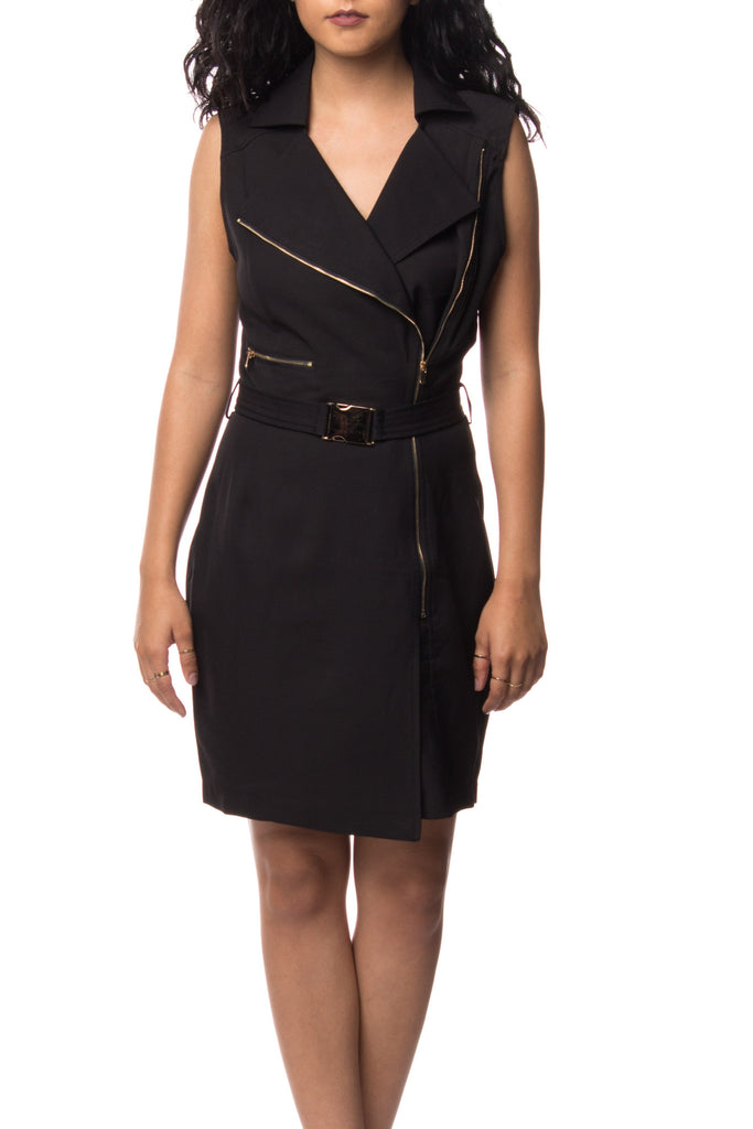 ZIPPERED BELTED DRESS