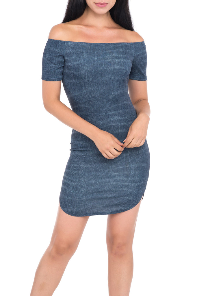 FORM FITTING DENIM OFF THE SHOULDER DRESS