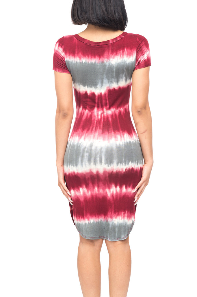 ROUND NECK SHORT SLEEVE TIE DYE DRESS