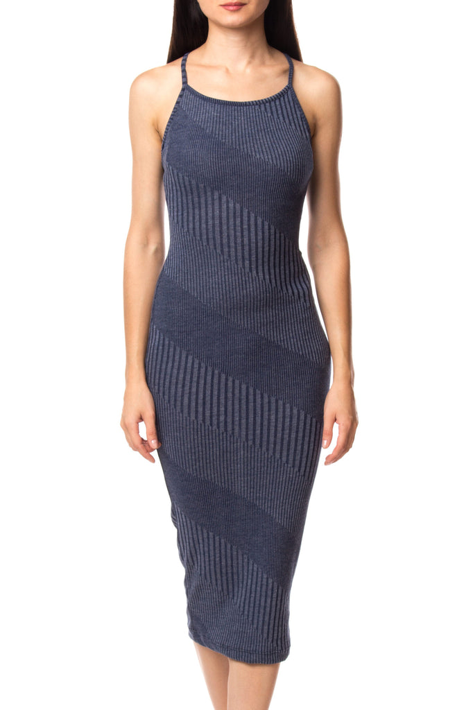 RIBBED KNIT BODYCON MIDI DRESS - PROMO 60% OFF