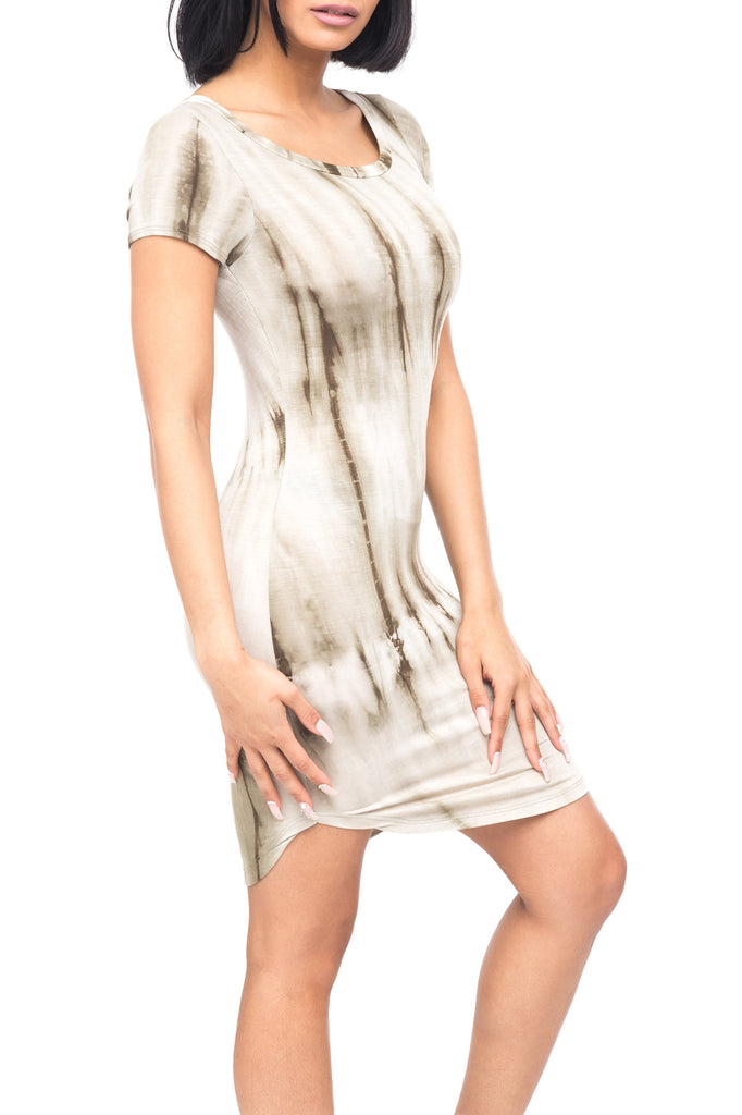 ROUND NECK CAP SLEEVE TIE DYE DRESS