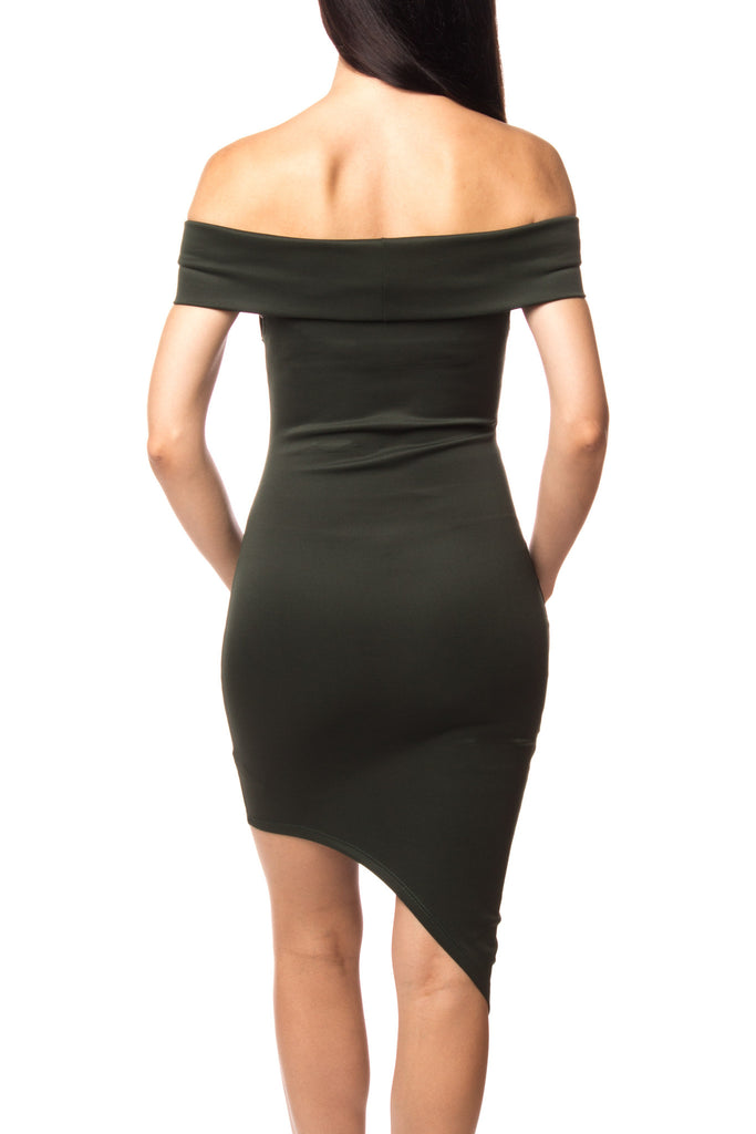 OFF THE SHOULDER ASYMMETRICAL BODYCON DRESS