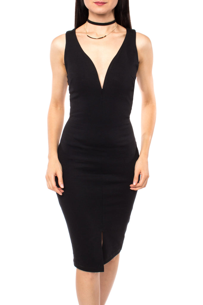 LOW CUT CROSSOVER BACK BODYCON DRESS