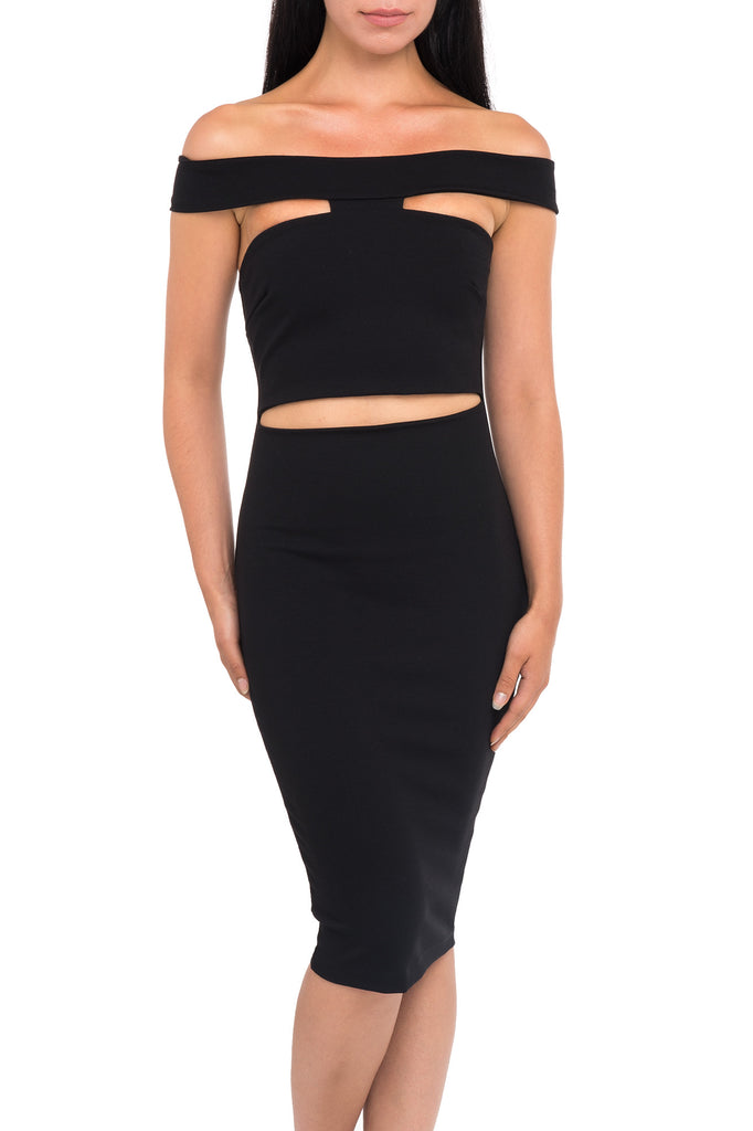 OFF THE SHOULDER CUTOUT BODYCON DRESS